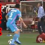 鳥栖のキム・ミンヒョクが鹿島の金崎選手の頭を踏みつける極悪ラフプレイ!